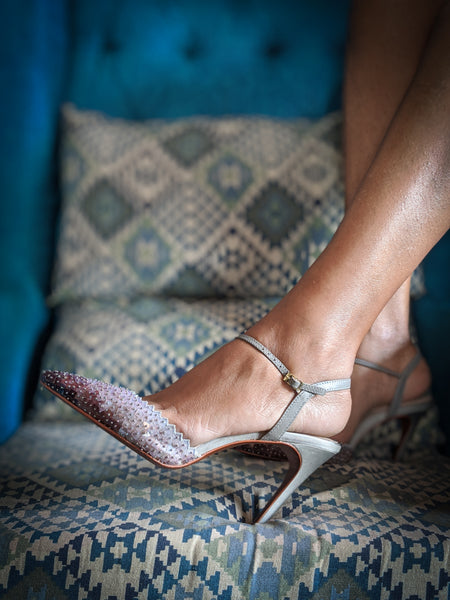 Burnt grey glass mule Stiletto