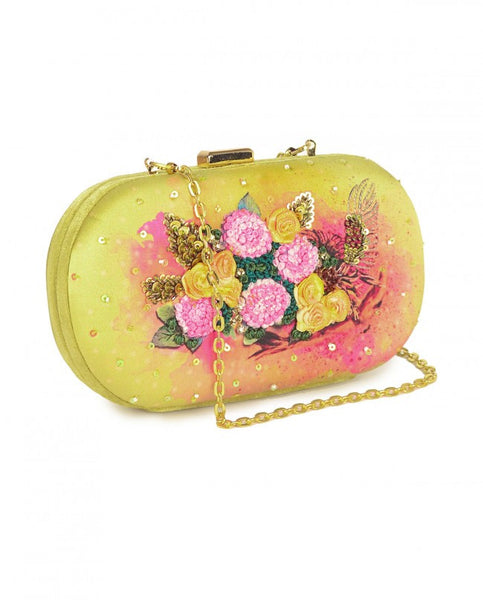 Moss gold Neverland owl clutch