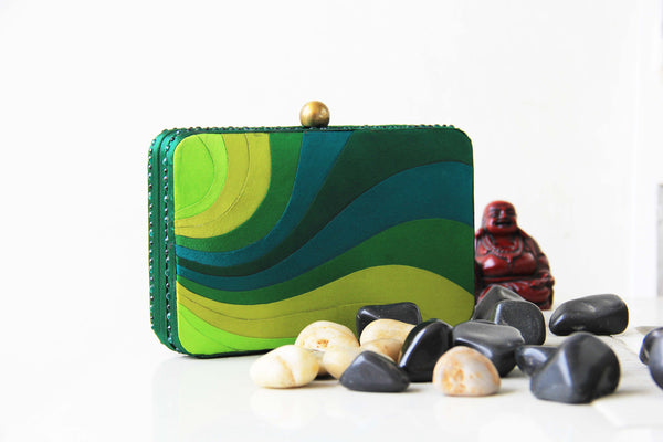 Emerald Green Peace Wave Clutch