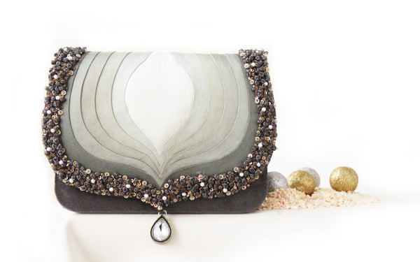 Grey Taj Clutch