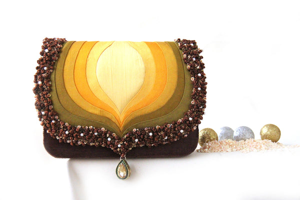 Dark Gold Taj Clutch