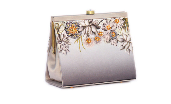 Grey Lotus Clutch