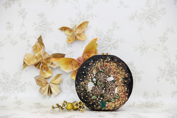 black & gold hydrangea clutch - gold series