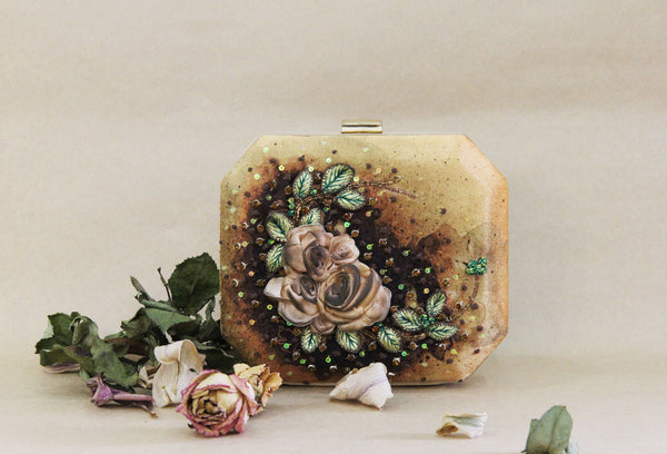 Vintage Gold Rose Clutch