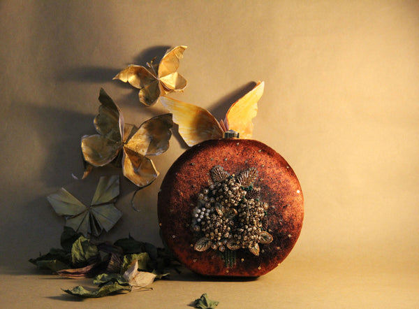 brown & antique gold hydrangea clutch - gold series