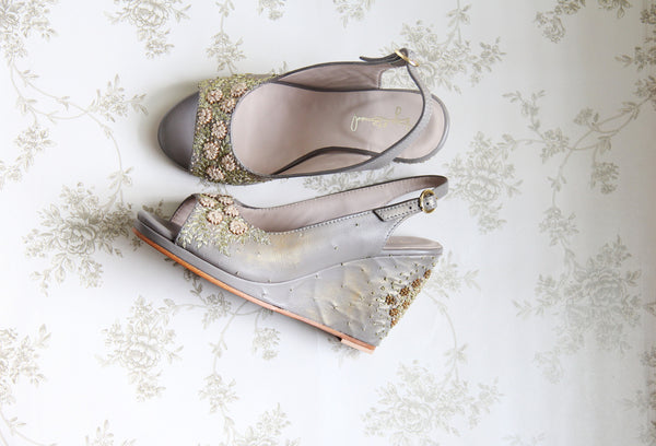 grey & gold wildflower wedge heel sandal