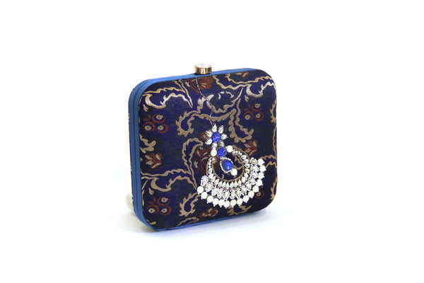 navy jhumka clutch