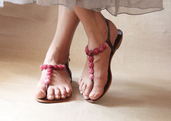 sea necklace sandal in marsala