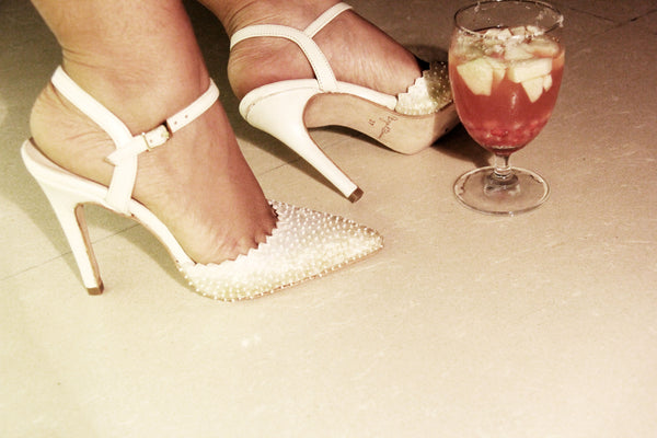 Ivory glass mule Stiletto