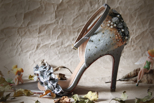 Silver Fallen Leaves Stiletto