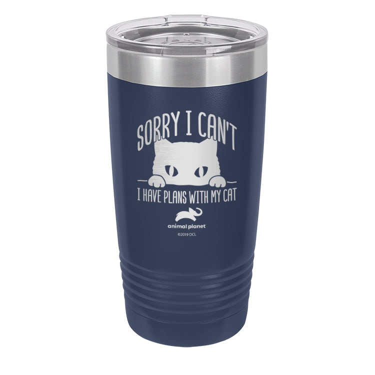Sorry I Can't I Have Plans with My Cat Laser Etched Drinkware (3512595546211)