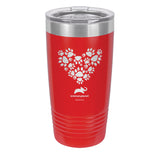 Paw Prints Heart Laser Etched Drinkware