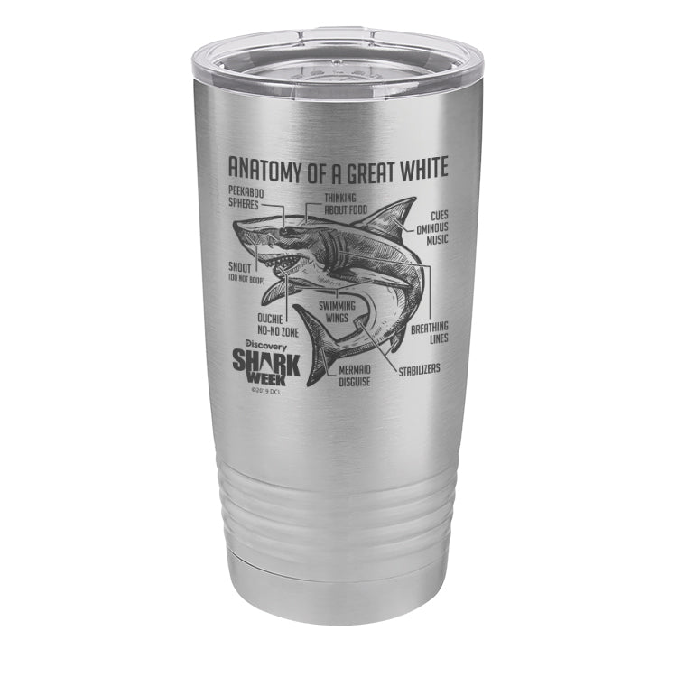 Anatomy of a Great White Shark Laser Etched Drinkware (3512523292771)