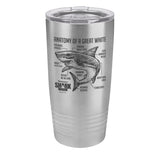 Anatomy of a Great White Shark Laser Etched Drinkware