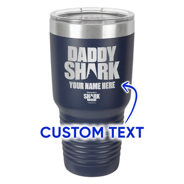 Daddy Shark Silhouette Laser Etched Drinkware - Customizable
