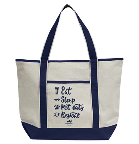 Eat Sleep Pet Cats Repeat Tote Bag