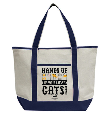 Hands Up If You Love Cats Tote Bag