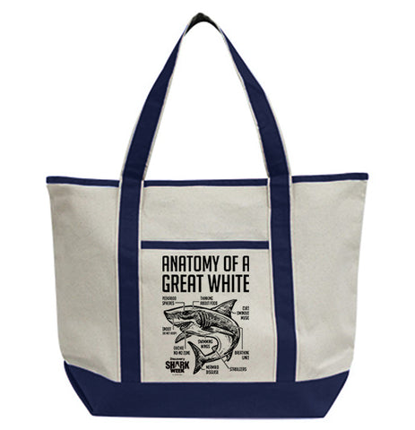 Anatomy Of A Great White Shark Tote Bag