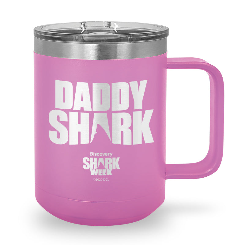 Daddy Shark Silhouette Laser Etched Stainless Steel Coffee Mug