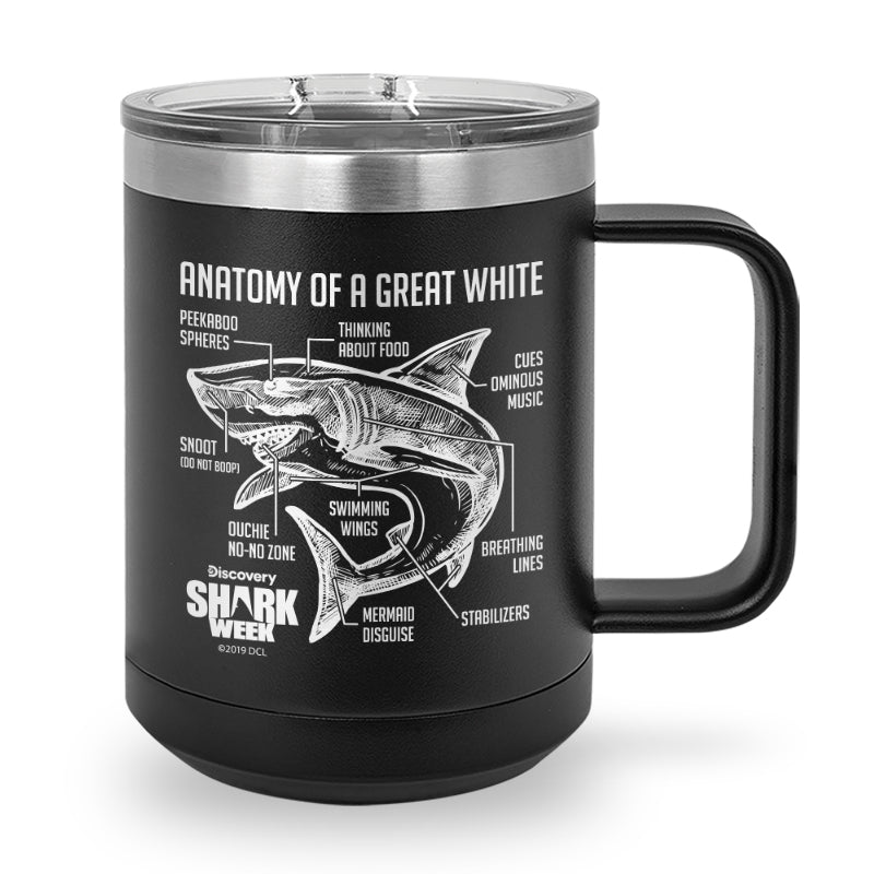 Anatomy of a Great White Shark Laser Etched Stainless Steel Coffee Mug