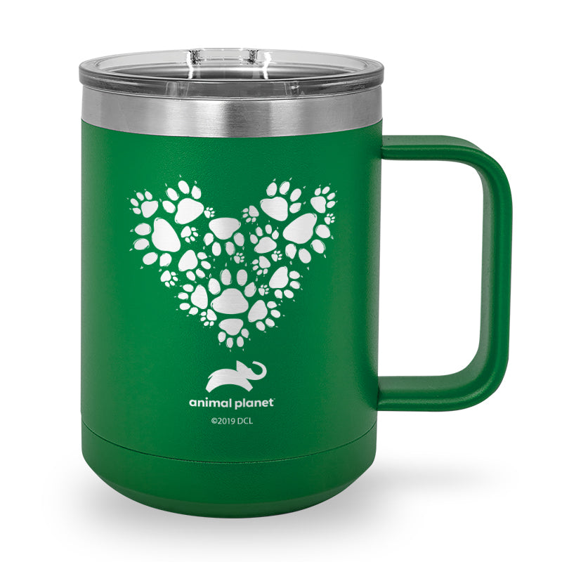 Paw Prints Heart Laser Etched Stainless Steel Coffee Mug