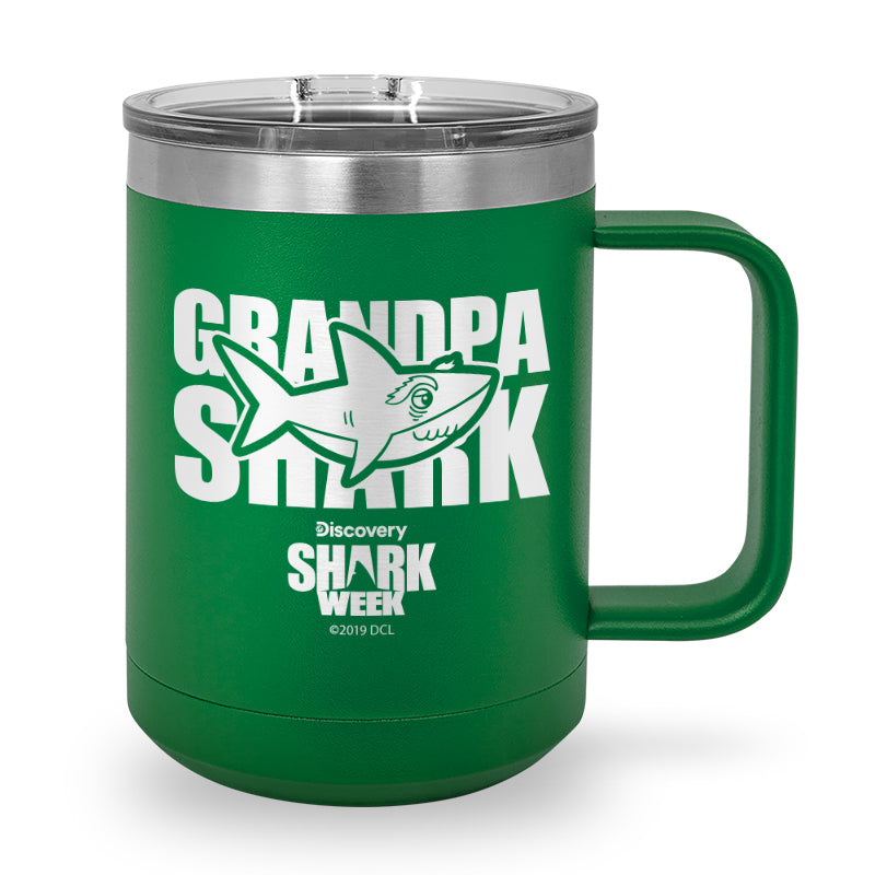 Grandpa Shark Laser Etched Stainless Steel Coffee Mug