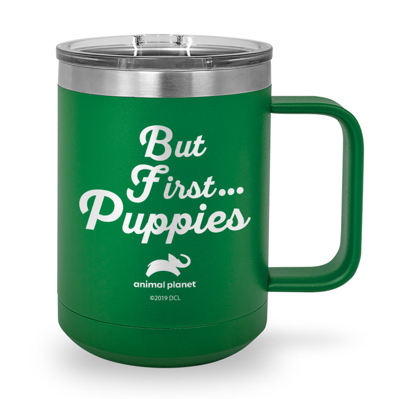 But First Puppies Laser Etched Stainless Steel Coffee Mug