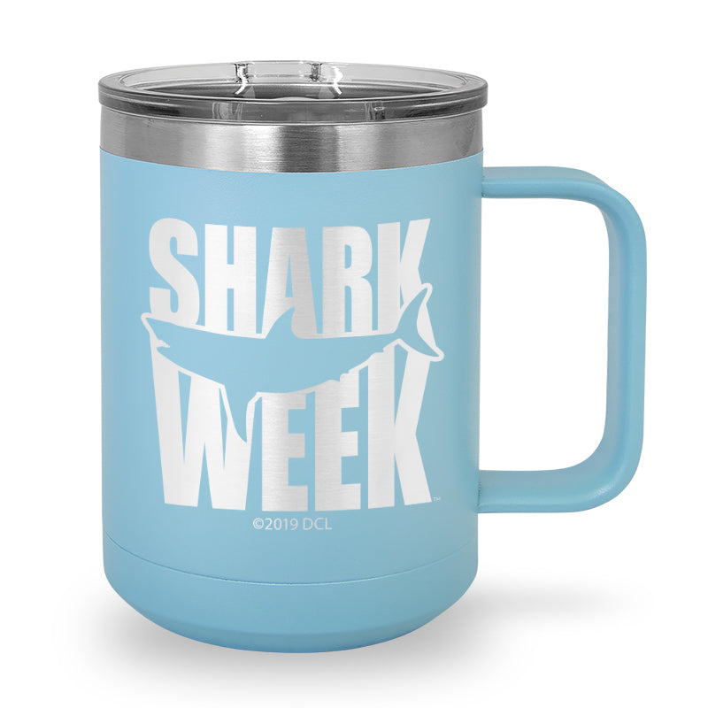 Great White Silhouette Laser Etched Stainless Steel Coffee Mug