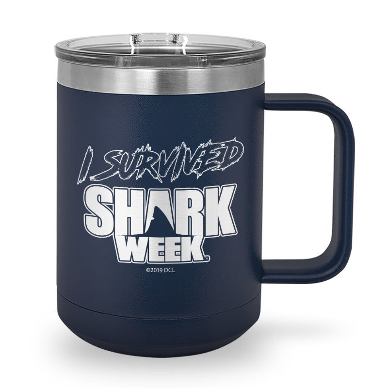 I Survived Shark Week Laser Etched Stainless Steel Coffee Mug