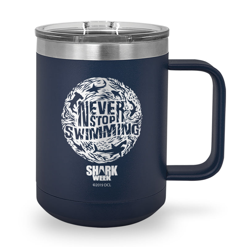Never Stop Swimming Thumbprint Laser Etched Stainless Steel Coffee Mug