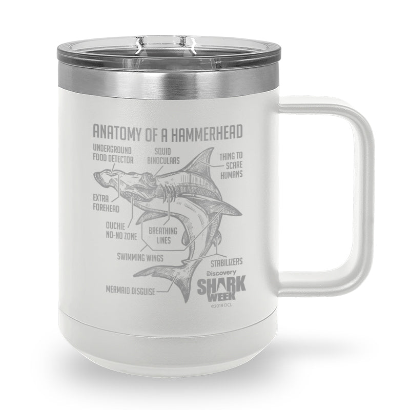 Anatomy of a Hammerhead Laser Etched Stainless Steel Coffee Mug