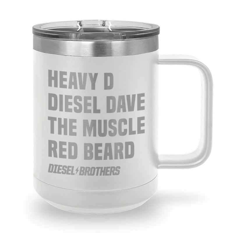 Heavy D Diesel Dave the Muscle Red Beard Laser Etched Stainless Steel Coffee Mug