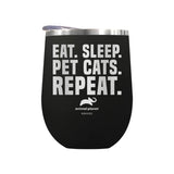 Eat Sleep Pet Cats Repeat Laser Etched Drinkware
