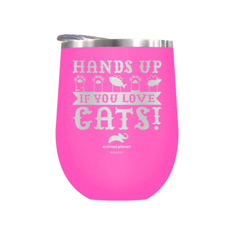 Hands Up If You Love Cats Laser Etched Drinkware (3512590041187)