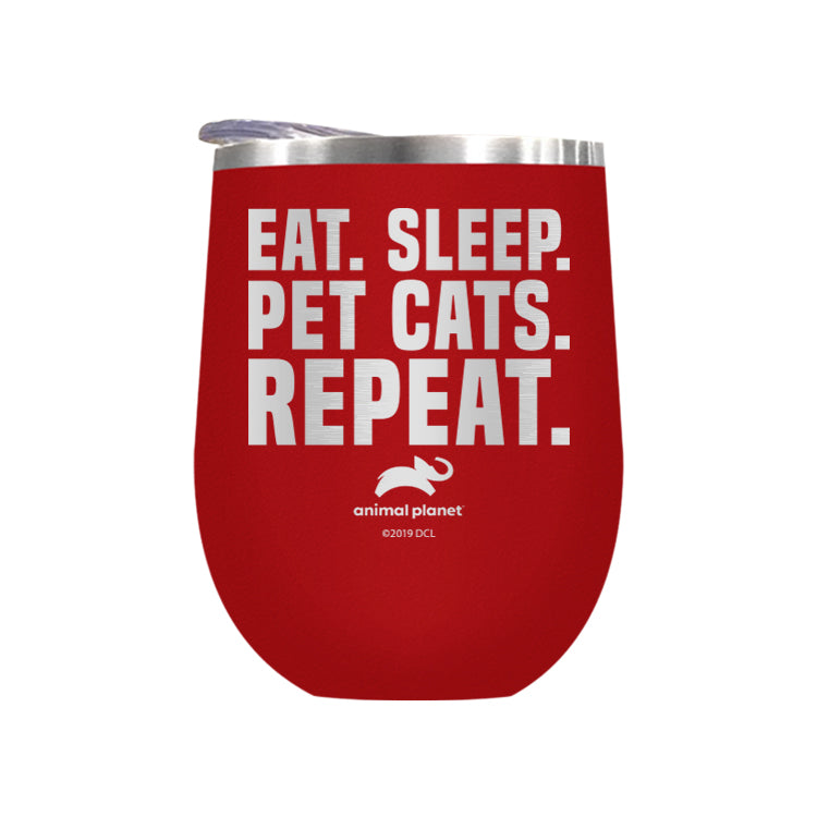 Eat Sleep Pet Cats Repeat Laser Etched Drinkware (3512585093219)