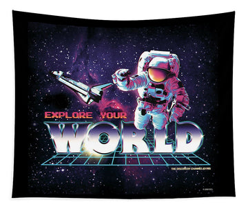 Retro Astronaut - Explore Your World - Tapestry