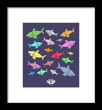 Colored Sharks - Framed Print