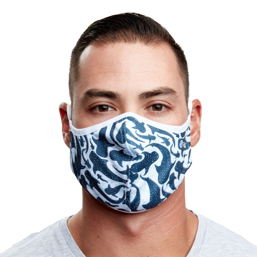 Whale Shark Recycled Plastic Cloth Face Mask with Filter Pocket + 5 Filters