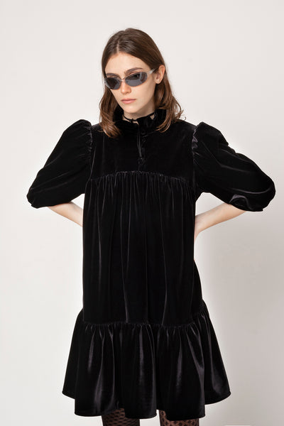 Mini Ruffle Dress Short Sleeve Velvet, Black