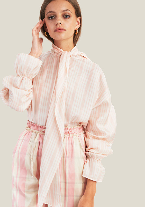 Silk Bow Blouse, Pink