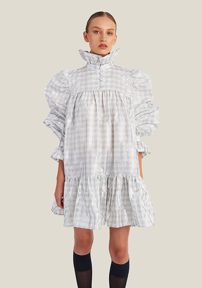 Mini Ruffle Dress, Silver Checked - AVAVAV-Mini Ruffle Dress, Silver Checked