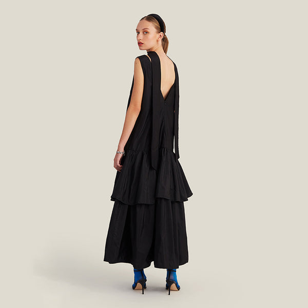 Long V-Neck Dress, Black