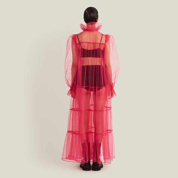 Long Ruffle Dress, Pink Tulle (4343911120980)