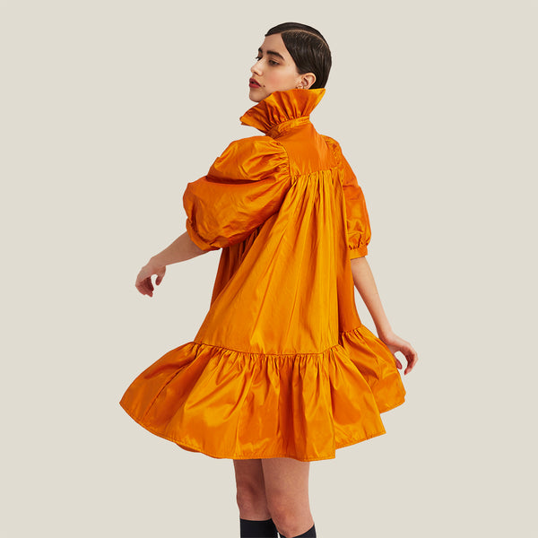 Mini Ruffle Dress Short Sleeve, Orange (4343880810580)