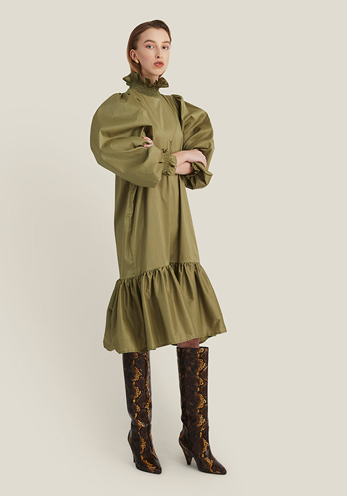 Smock Ruffle Dress, Olive Green