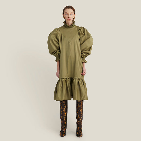 Smock Ruffle Dress, Olive Green (4337031184468)