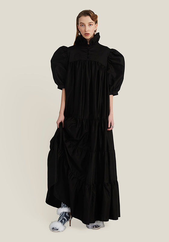 Long Ruffle Dress Short Sleeve, Black (4346416234580)