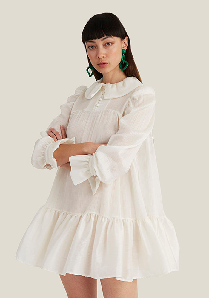 Mini Ruffle Dress, Off White Plissé