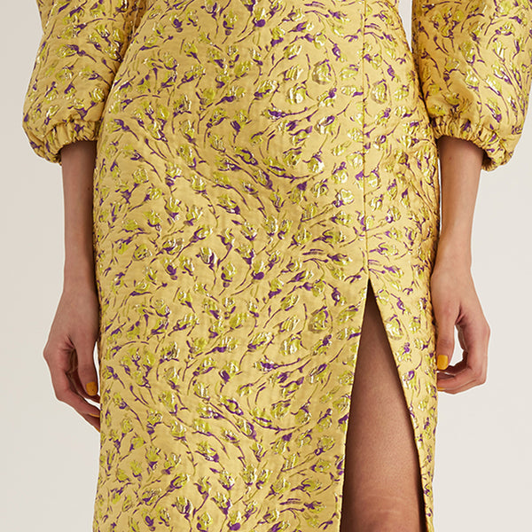 Jacquard Pencil Skirt, Yellow