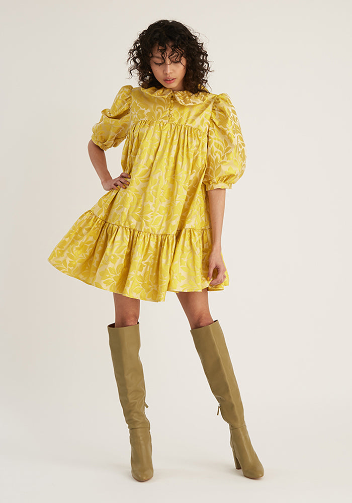 Mini Ruffle Dress Short Sleeve, Yellow Jacquard (4528138977364)